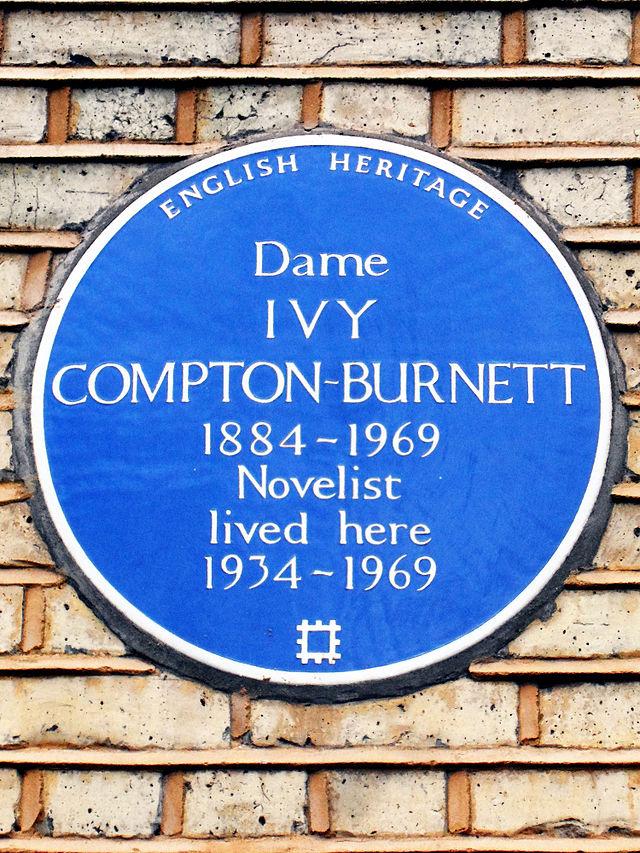 Ivy Compton-Burnett blue plaque - Dame Ivy Compton-Burnett 1884-1969 novelist lived here 1934-1969