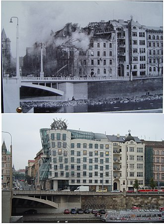 Dancing House - Comparison of Dancing House site in 1945 and 2010