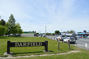 Darfield, New Zealand - Darfield sign on New Zealand State Highway 73, the main street of Darfield