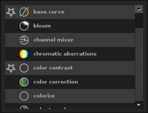 Darktable - Current plugin palette used in darktable 1.2.