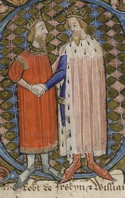 David II, King of Scotland and Edward III, King of England (British Library MS Cotton Nero D VI, folio 66v)