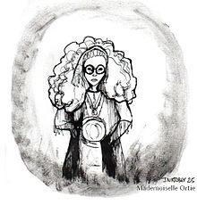 Une illustration en noir et blanc à l'encre de Chine représentant une femme avec foulard, perles, une grande masse de cheveux et de grosses lunettes noires, tenant une sphère entre ses mains