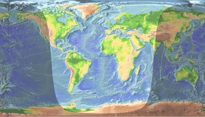 Daylight - World map showing the areas of the Earth receiving daylight around 13:00 UTC, April 2nd.