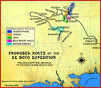 A map showing the de Soto expedition route through Mississippi, and  Arkansas, up to the point de Soto dies. Based on the Charles M. Hudson map  of 1997.