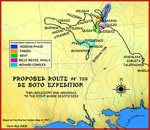 Quapaw - A map showing the de Soto expedition route through Mississippi, and Arkansas, up to the point de Soto dies. Based on the Charles M. Hudson map of 1997.