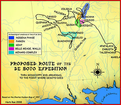 A map showing the de Soto expedition route through Mississippi, and Arkansas, up to the point de Soto dies. Based on the Charles M. Hudson map of 1997. DeSoto Map Leg 3 HRoe 2008.jpg