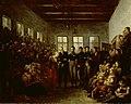 De prins van Oranje bezoekt de slachtoffers van de watersnood in het Aalmoezeniersweeshuis te Amsterdam op 14 februari 1825. Rijksmuseum SK-A-4253.jpeg