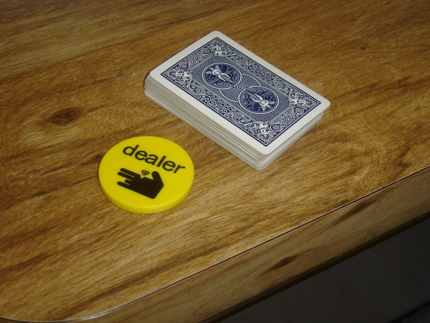 Dealer button chip & playing cards