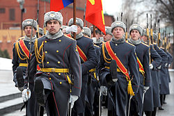 Defense.gov News Photo 110322-D-XH843-010 - Russian soldiers march during a welcoming ceremony for Secretary of Defense Robert M. Gates at the Tomb of the Unknown Soldier in Moscow Russia.jpg