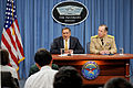 Defense.gov News Photo 110804-D-WQ296-155 - Secretary of Defense Leon E. Panetta responds to a reporter s question during his first Pentagon press briefing on Aug. 4 2011. Joining Panetta is.jpg