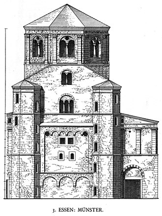 Mathilde, Abbess of Essen - Reconstructed view of the westwerk of Essen Abbey