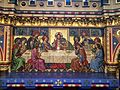 Depiction of the Last Supper as a glass mosaic reredos within All Saints' Church, Reading, UK 2014-07-07 23-07.jpg