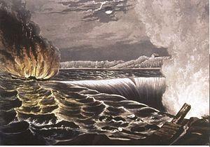 English: The destruction of the Caroline steam...
