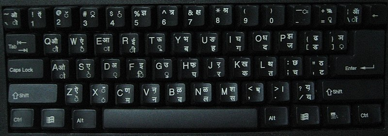 Devanagari INSCRIPT bilingual keyboard layout