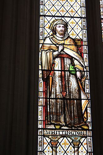 Richard Whittington - Dick Whittington as portrayed in the stained glass of the Guildhall in London