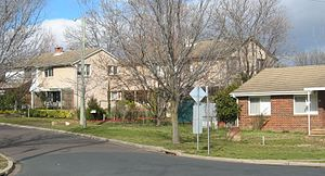 Suburbs of Canberra - A residential street in the suburb of Dickson.