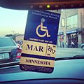 Disabled parking permit hanging placard, Minnesota.jpg