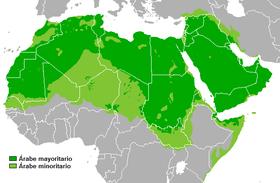 Répartition géographique de la langue arabe. En vert foncé, arabe majoritaire; en vert clair, arabe minoritaire.