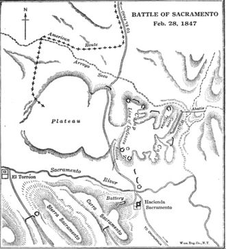 Battle of the Sacramento River - Image: Disposition of forces along the Sacramento