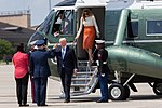 Donald and Melania Trump arrive aboard Marine One to Joint Base Andrews, MD, May 2017.jpg