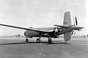 Douglas XB-42 Mixmaster - View of the contraprop and cruciform tail.