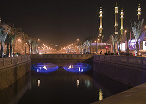 Downtown Aleppo, Queik river at night