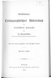 """""""Complete Orthographic Dictionary of the German Language"""", title page of the first edition"""