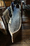 Dugout Canoe, view 2, 18 foot white pine, white man's canoe used on Connecticut River, c. 1710-1745 - Hadley Farm Museum - DSC07654.JPG