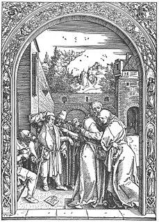 <i>Joachim and Anne Meeting at the Golden Gate</i> (Dürer) print by Albrecht Dürer from the series Life of the Virgin