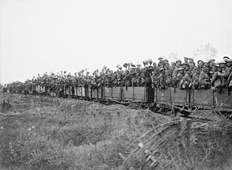 20th (Light) Division - Men of the 11th (Service) Battalion, Durham Light Infantry being taken forward by light railway near Elverdinghe, during the Third Battle of Ypres, 31 July 1917.