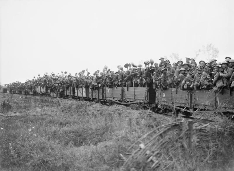Durham Light Infantry in light rail wagons 31-07-1917 IWM Q 2641