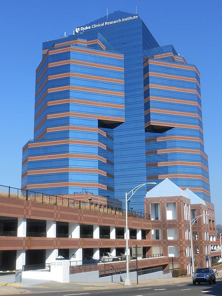 Duke Clinical Research Institute in Downtown Durham Durham University Tower.JPG