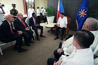 Philippine–Japanese–Indonesian bid for the 2023 FIBA Basketball World Cup - Philippine President Rodrigo Duterte meets with FIBA officials at the Manila Hotel.