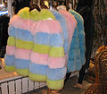 Dyed blue fox fur jackets, several colours, 2011.jpg