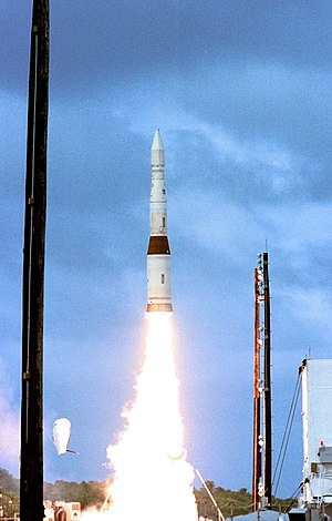 A payload launch vehicle carrying a prototype exoatmospheric kill vehicle is launched from Meck Island at the Kwajalein Missile Range on December 3, 2001, for an intercept of a ballistic missile target over the central Pacific Ocean.