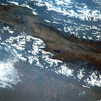 Muisca - View of the Eastern Ranges of the Colombian Andes Lake Tota is clearly visible