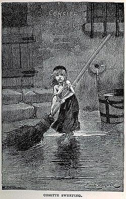 "Émile Bayard's ""Cosette Sweeping."""