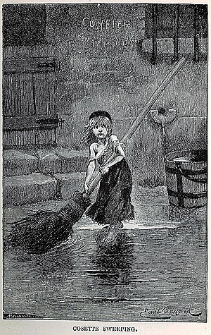 "Les Misérables - Portrait of ""Cosette"" by Emile Bayard, from the original edition of Les Misérables (1862)"
