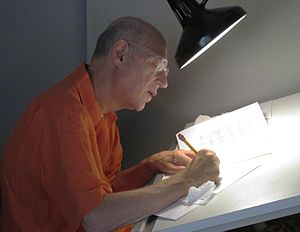 Ed Subitzky - Subitzky at his drawing table in 2012, working on a JCS comic strip