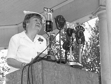 Congresswoman Edith Nourse Rogers addresses the graduates of the first WAAC officer candidate class at Fort Des Moines, 29 August 1942.