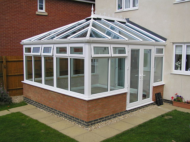 A typical glass-roofed conservatory