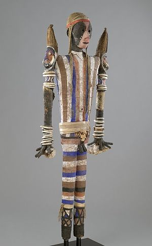 Malakula - Effigy Figure (Rambaramp), before 1880. Wood, fiber, mud, pigment, bone, shell, boar's tusks. Brooklyn Museum