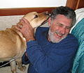 Elliot Aronson and guide dog 2011.jpg