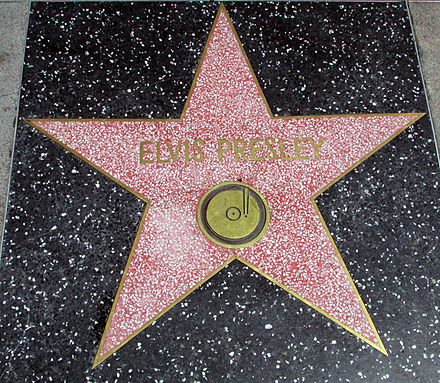 Presley's star on the Hollywood Walk of Fame at 6777 Hollywood Blvd Elvis Presley Hollywood Walk of Fame Star.jpg