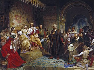 Christopher Columbus meets Isabella I of Castile and Ferdinand II of Aragon in the Alcazar of Cordoba Emanuel Gottlieb Leutze - Columbus Before the Queen.JPG