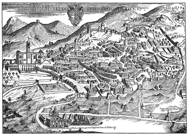 Engraving showing a panoramic view of Assisi.