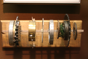 Enigma rotor details - Detail of rotor internal structure and wiring on display at the US National Cryptologic Museum