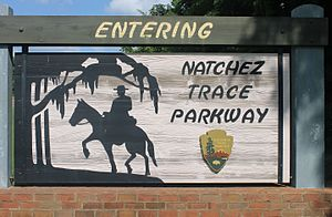 Natchez Trace Parkway - Entrance sign to the parkway near Natchez, Mississippi