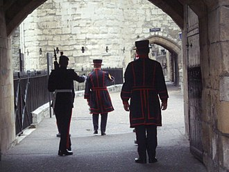 Ceremony of the Keys (London) - Yeoman Warder with escort, Tower of London in May 2010