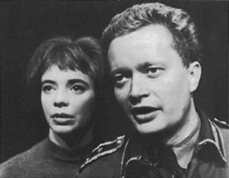 Ernst-Hugo Järegård - Young Järegård on stage with Margit Carlqvist in Jean-Paul Sartre's Fångarna på Altona (The Condemned of Altona), Gothenburg City Theatre, 1961.